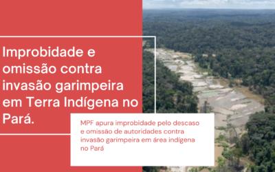 MPF apura improbidade pelo descaso e omissão de autoridades contra invasão garimpeira em área indígena no Pará