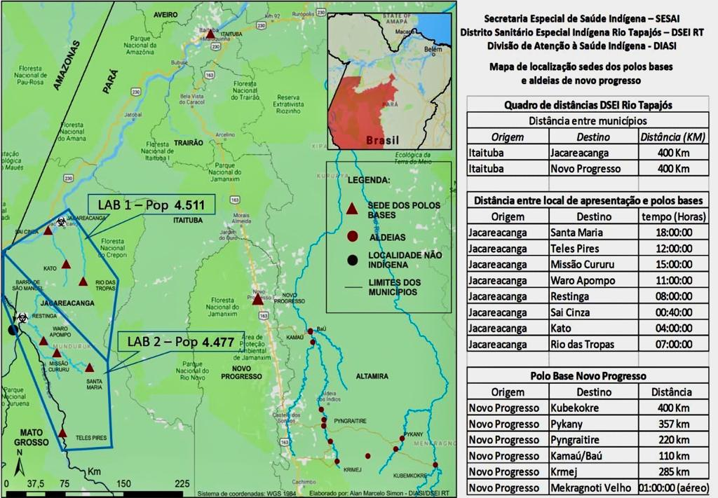 Mapa de localização dos dois laboratórios e respectiva cobertura dos polos bases e aldeias (DSEI Rio Tapajós).